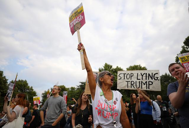 <p>Demonstrators protest next to the U.S. ambassador's residence, Winfield House, where President Trump and first lady Melania Trump are staying, in London, July 12, 2018. (Photo: Simon Dawson/Reuters) </p>