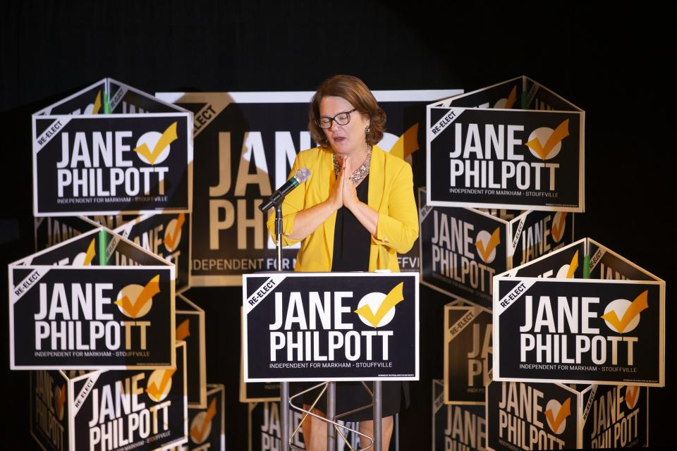 Independent candidate Jane Philpott greets supporters after losing her Markham-Stouffville seat to Liberal candidate Helena Jaczek, in the Federal Election, on Monday, October 21, 2019. THE CANADIAN PRESS/Chris Young