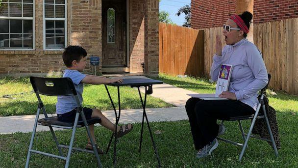 PHOTO: Myra Garza, a preschool teacher at Holy Catholic Catholic School in San Antonio, Texas, took her classroom to students' entrances during the coronavirus pandemic. (Courtesy Myra Garza)