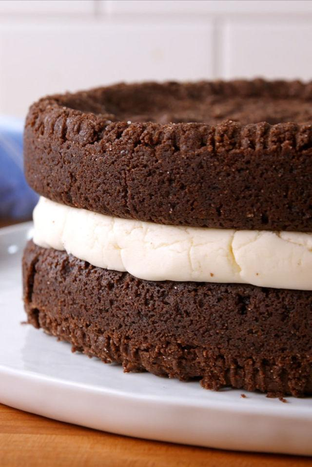 "<p>This is <em>way </em>beyond double stuffed.</p><p>Get the recipe from <a rel=""nofollow"" href=""http://www.delish.com/cooking/recipe-ideas/recipes/a51819/giant-oreo-cake-recipe/"">Delish</a>.</p>"