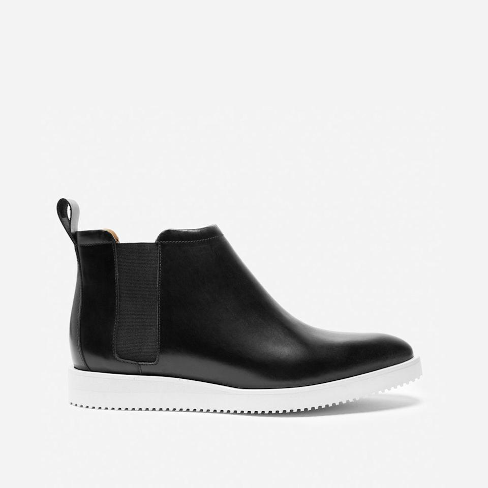 """<h3><a href=""""https://www.everlane.com/products/womens-street-boot-black?collection=womens-boots"""" rel=""""nofollow noopener"""" target=""""_blank"""" data-ylk=""""slk:The Choose What You Pay Boot"""" class=""""link rapid-noclick-resp"""">The Choose What You Pay Boot</a></h3><br>You will often <a href=""""https://www.refinery29.com/en-us/2019/05/233394/everlane-sale-choose-what-you-pay-clothing-2019"""" rel=""""nofollow noopener"""" target=""""_blank"""" data-ylk=""""slk:find us lurking"""" class=""""link rapid-noclick-resp"""">find us lurking</a> in Everlane's """"<a href=""""https://www.everlane.com/collections/womens-sale"""" rel=""""nofollow noopener"""" target=""""_blank"""" data-ylk=""""slk:Choose What You Pay"""" class=""""link rapid-noclick-resp"""">Choose What You Pay</a>"""" section for marked-down styles that were overproduced, or simply overlooked by shopping eyes less eagle-like than our own. Plenty of boots and loafers hide here, at prices that are even lower than the brand's already-competitive transparent ones. <br><br><strong>Everlane</strong> The Street Ankle Boot, $, available at <a href=""""https://go.skimresources.com/?id=30283X879131&url=https%3A%2F%2Fwww.everlane.com%2Fproducts%2Fwomens-street-boot-black%3Fcollection%3Dwomens-boots"""" rel=""""nofollow noopener"""" target=""""_blank"""" data-ylk=""""slk:Everlane"""" class=""""link rapid-noclick-resp"""">Everlane</a>"""