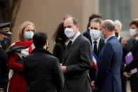French Prime Minister Jean Castex and French Education Minister Jean Michel Blanquer arrive at the Bois d'Aulne college, in the Paris suburb of Conflans-Sainte-Honorine