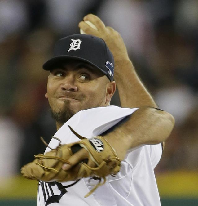 Detroit Tigers' Joaquin Benoit throws in the ninth inning during Game 4 of the American League baseball championship series against the Boston Red Sox, Wednesday, Oct. 16, 2013, in Detroit. (AP Photo/Matt Slocum)