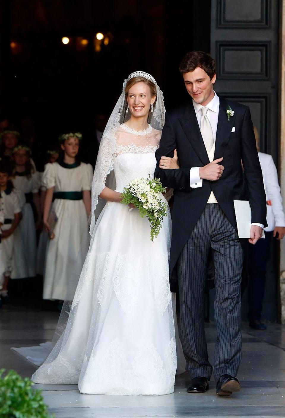 """<p>Prince Amedeo of Belgium wed his Italian fiancée in 2014 in Rome. A journalist for <span class=""""redactor-unlink"""">Bloomberg News</span>' cultural section, she and the prince met while they were students together in London. </p>"""