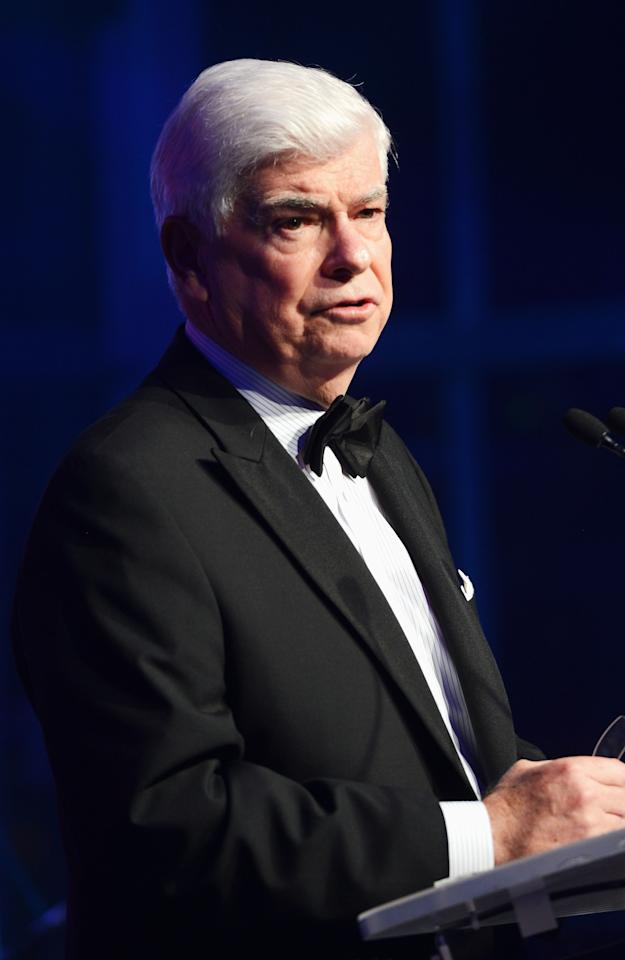 CANNES, FRANCE - MAY 18:  Senator Chris Dodd, Chairman and Chief Executive Officer of the Motion Picture Association of America speaks at the Haiti Carnival In Cannes Benefitting J/P HRO, Artists For Peace and Justice & Happy Hearts Fund Presented By Armani during the 65th Annual Cannes Film Festival on May 18, 2012 in Cannes, France.  (Photo by Michael Buckner/Getty Images)