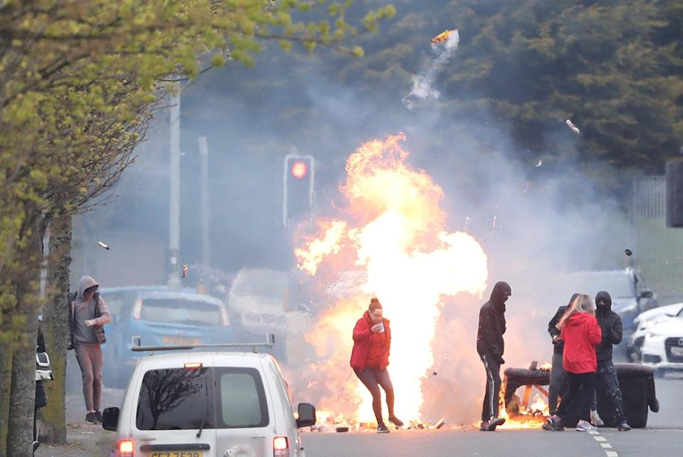 The fires were in the Shankill Road where a bus was set alight earlier this monthPA