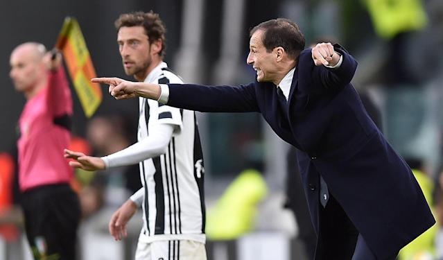 Juventus' coach Massimiliano Allegri shouts directions to his players during a Serie A soccer match between Juventus and Udinese, at the Allianz Stadium in Turin, Italy, Sunday, March 11, 2018. (Alessandro Di Marco/ANSA via AP)