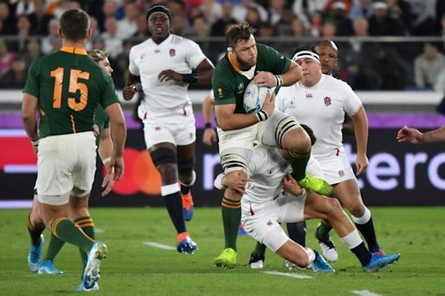 Bulls signing Duane Vermeulen (C) helps South Africa defeat England in the 2019 Rugby World Cup final in Japan (AFP Photo/Kazuhiro NOGI)