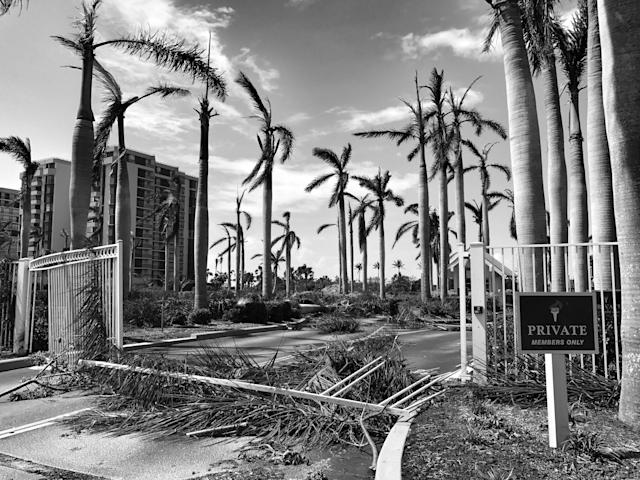 <p>Storm damage in Marco Island, Fla., where Hurricane Irma made landfall. (Photo: Holly Bailey/Yahoo News) </p>