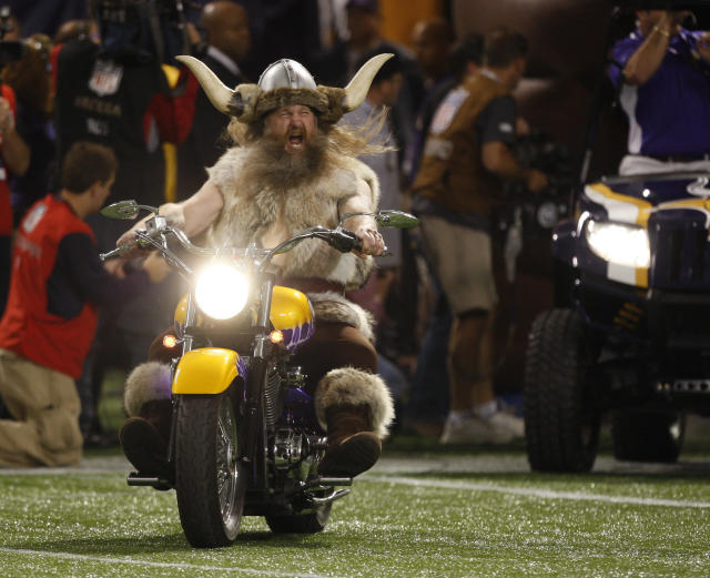 <p>Minnesota Vikings mascot Ragnar drives onto the field before the NFL football game between the Minnesota Vikings and the Dallas Cowboys Sunday, Oct. 17, 2010 in Minneapolis.(AP Photo/Andy King) </p>
