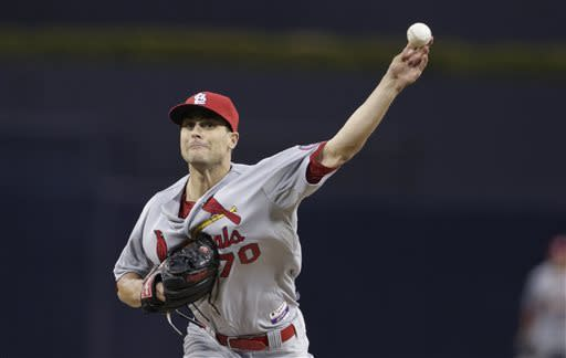 St. Louis Cardinals starting pitcher Tyler Lyons throws against the San Diego Padres during the first inning of their baseball game as he makes his Major League debut Wednesday, May 22, 2013, in San Diego. (AP Photo/Gregory Bull)