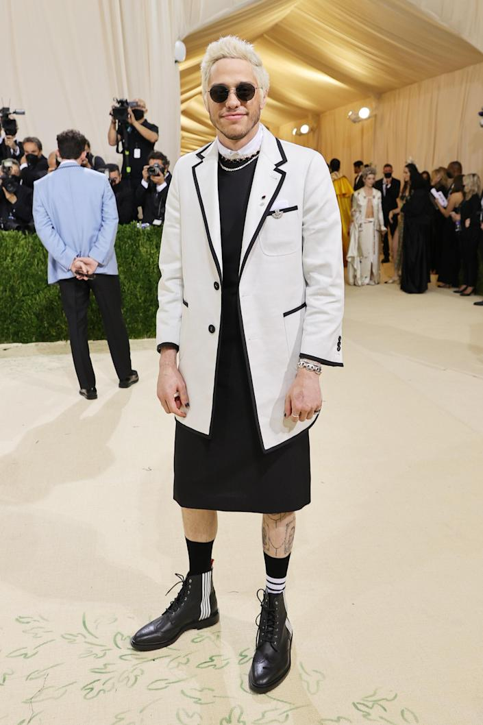 """<h1 class=""""title"""">Pete Davidson in Thom Browne and Silhouette eyewear</h1><cite class=""""credit"""">Photo: Getty Images</cite>"""