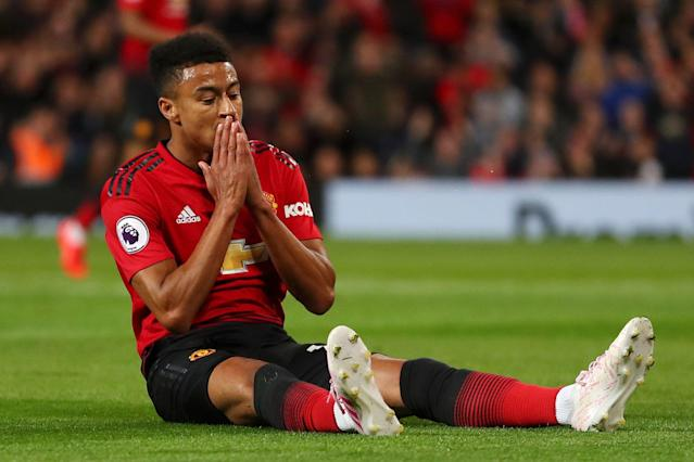 Jesse Lingard of Manchester United reacts during the Premier League match between Manchester United and Manchester City.