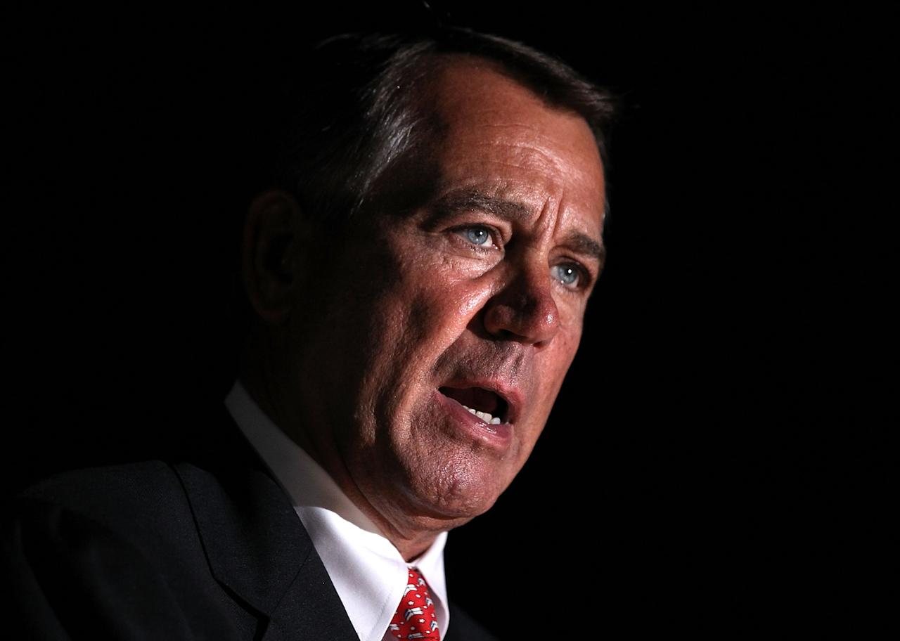WASHINGTON, DC - DECEMBER 04:  U.S. Speaker of the House Rep. John Boehner (R-OH) speaks during the lighting ceremony of the 2012 Capitol Christmas Tree December 4, 2012 at the West Front Lawn of the U.S. Capitol in Washington, DC. The year's tree is a 65-foot Engelmann spruce from the Blanco Ranger District of the White River National Forest in Colorado.  (Photo by Alex Wong/Getty Images)