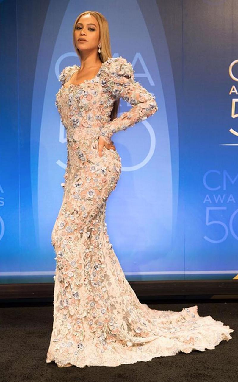 Beyoncé Wore 2 Over-the-Top Embellished Gowns to the CMA Awards