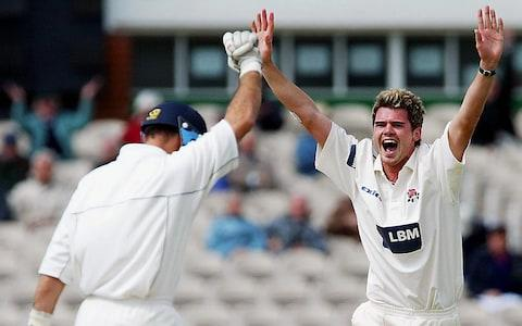 James Anderson of Lancashire claims the wicket of Nasser Hussain of Essex on his way to a hat-trick during the Frizzell County Championship match between Lancashire and Essex on May 14, 2003 at Old Trafford Cricket Ground in Manchester, England - Credit: Getty Images Sport