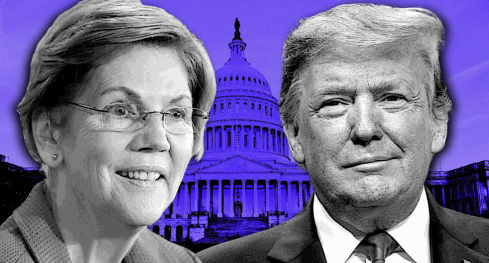 Sen. Elizabeth Warren and President Trump. (Photo illustration: Yahoo News; photos: AP [2], J. Scott Applewhite/AP)