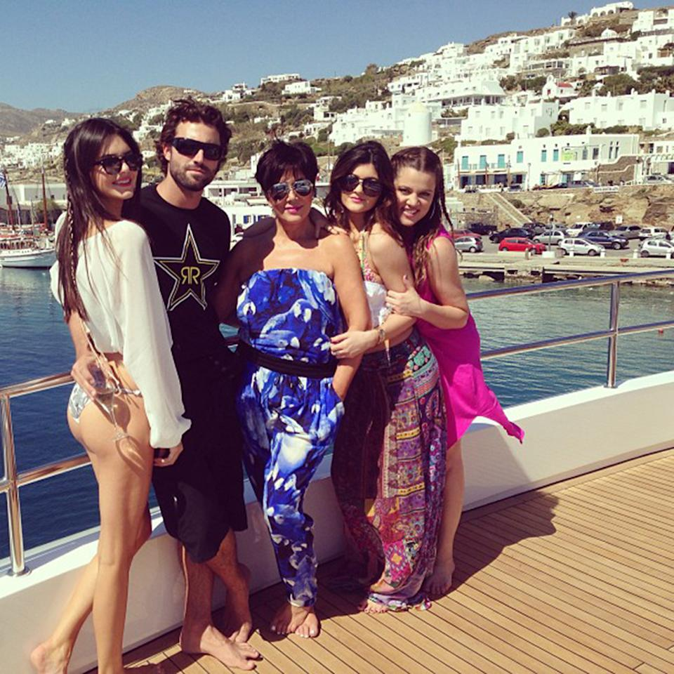 "What do you do when you have a big family, a ton of money, and want to spend as much time as possible on the water while visiting the outrageously gorgeous Greek island of Mykonos? You charter a private yacht, of course! Matriarch Kris Jenner (center) joined stepson Brody and daughters Kendall (far left), Kylie (second from right), and Khloe for <a href=""http://instagram.com/p/Ym8J7KHGpa/"" target=""_blank"">a photo shoot</a> on deck of the luxury vessel. Oh, and we looked up how much that yacht costs: It starts at approximately $208,000 a week. No word on whether or not they charge you extra for<a href=""http://www.keek.com/!CgSSbab"" target=""_blank""> doing this</a> ...<br /><br />"
