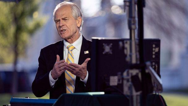 PHOTO: White House trade adviser Peter Navarro speaks during an interview at the White House, April 6, 2020, in Washington. (Evan Vucci/AP)