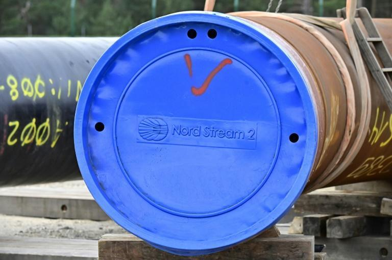 A pipe is seen in 2019 at the construction site of the Nord Stream 2 gas pipeline in Lubmin, northeastern Germany