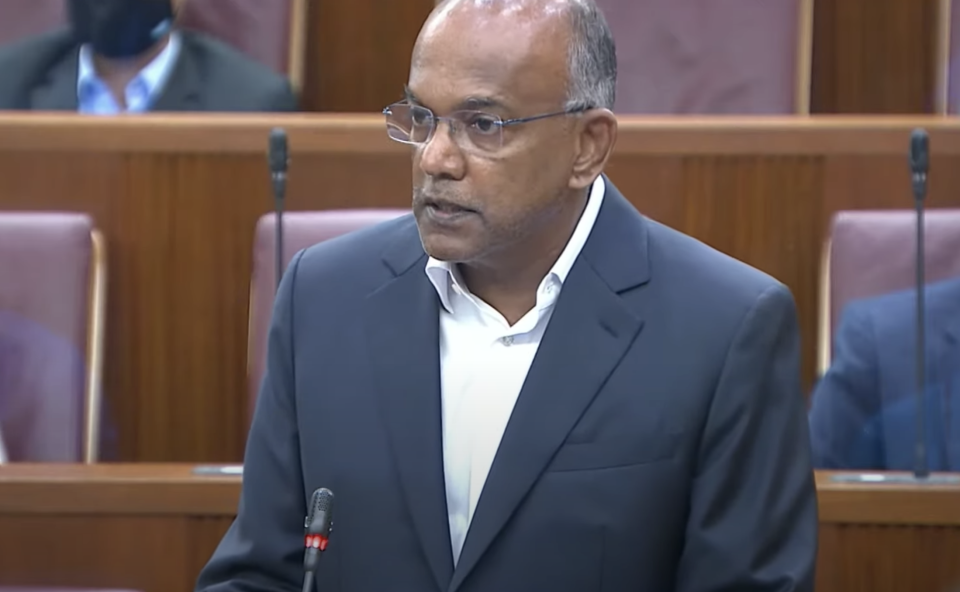 Law Minister K Shanmugam speaking in Parliament on 10 May. (PHOTO: Ministry of Communications and Information)