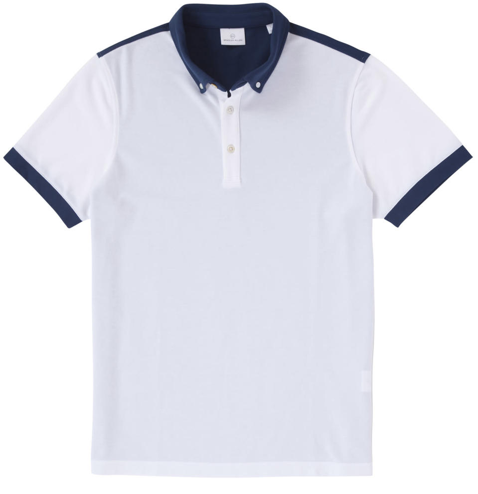 """<p>This shirt combines the look of a classic old-school cotton polo with a sleek cut and breathable, quick-drying cotton-poly-spandex fabric that will keep you cool even in the dog days of summer. <a href=""""https://www.bradley-allan.com/collections/polos/products/color-block-polo-white-cadet"""" rel=""""nofollow noopener"""" target=""""_blank"""" data-ylk=""""slk:$89"""" class=""""link rapid-noclick-resp"""">$89</a> (Courtesy Bradley Allan) </p>"""