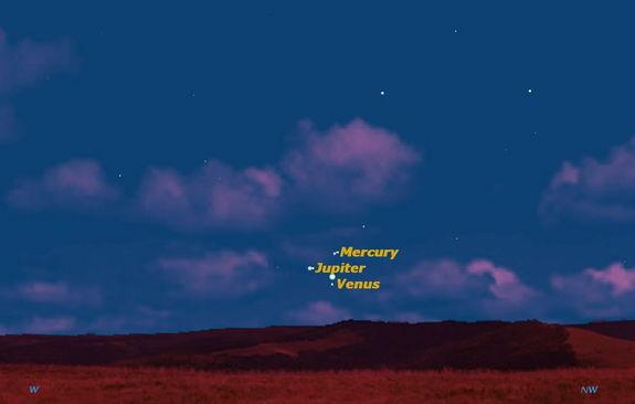Just after sunset on Sunday May 26, the three brightest planets, Venus, Jupiter, and Mercury, will form a perfect tiny triangle in the western sky.