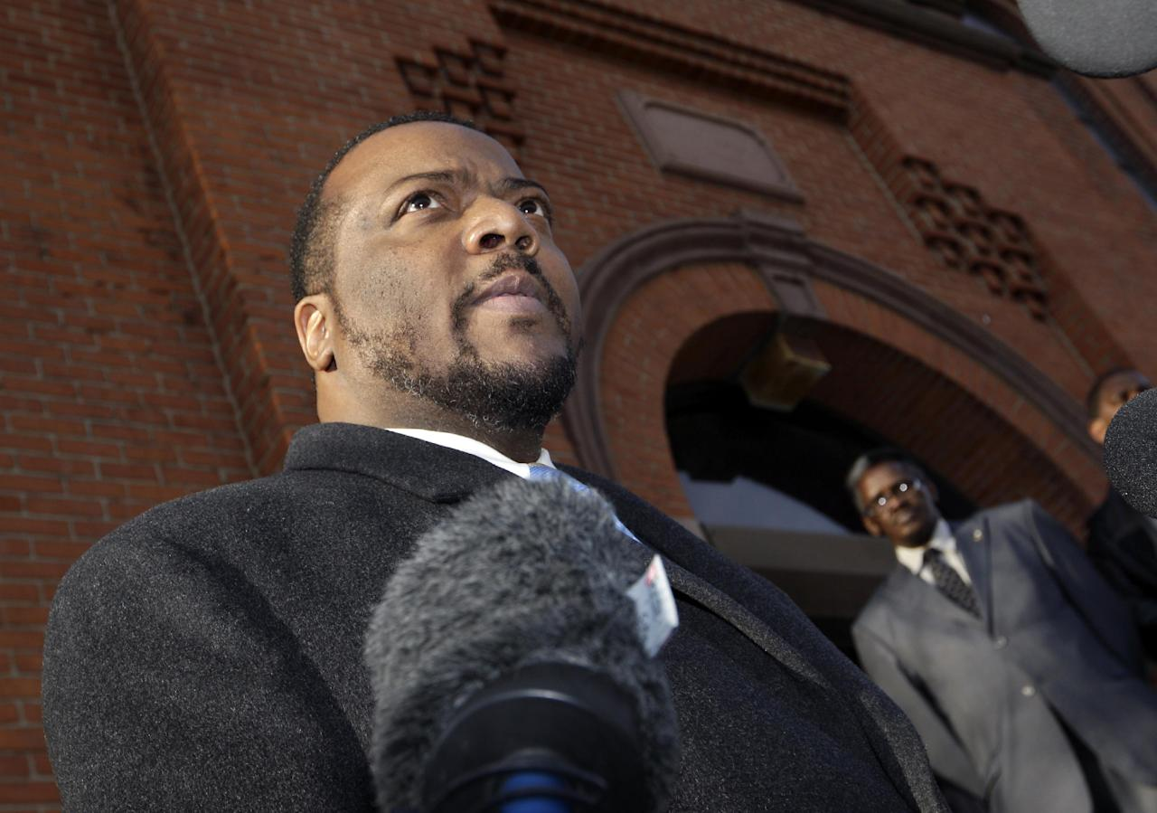 New Hope Baptist Church Pastor Joe A. Carter talks about the death of Whitney Houston and the effect it has on the congregation of his church in Newark, N.J., Sunday, Feb. 12, 2012. As a young girl, Houston sang in the choir at New Hope Baptist Church. Houston, who ruled as pop music's queen until her majestic voice and regal image were ravaged by drug use, erratic behavior and a tumultuous marriage to singer Bobby Brown, died Saturday. She was 48. (AP Photo/Mel Evans)