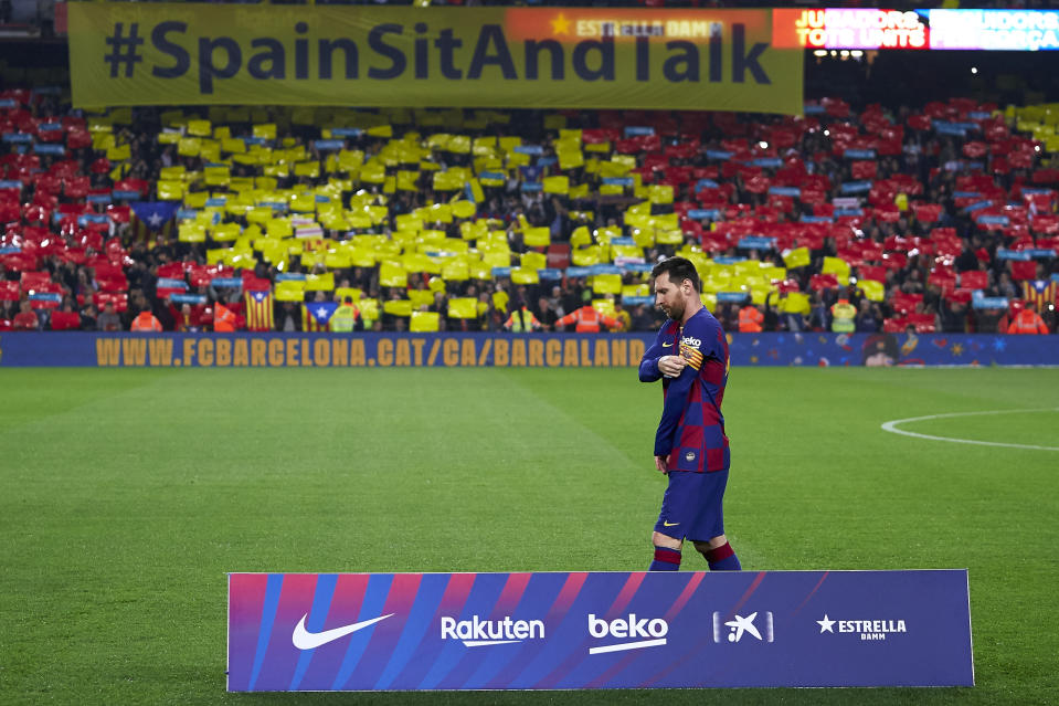 BARCELONA, SPAIN - DECEMBER 18: Lionel Messi of FC Barcelona looks on prior to the Liga match between FC Barcelona and Real Madrid CF at Camp Nou on December 18, 2019 in Barcelona, Spain. (Photo by Quality Sport Images/Getty Images)