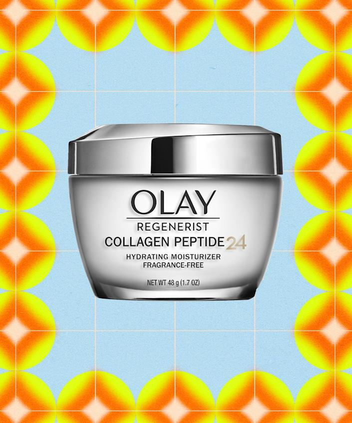 """<strong><h2>Olay Collagen Peptide24 Moisturizer</h2></strong><br><strong>Best for:</strong> Firming and plumping<br> <br><strong>How it works:</strong> Enriched with Olay's Collagen Peptide24 Complex, this fragrance-free moisturizer packs a punch with collagen peptides and vitamin B3 to deliver visibly firmer skin — all without any stickiness or residue. The intensely moisturizing formula absorbs right into skin as well, delivering hydration for up to 24 hours.<br><br><strong>Olay</strong> Regenerist Collagen Peptide 24 Moisturizer, $, available at <a href=""""https://go.skimresources.com/?id=30283X879131&url=https%3A%2F%2Fwww.cvs.com%2Fshop%2Folay-regenerist-collagen-peptide-24-face-moisturizer-fragrance-free-facial-cream-1-7-oz-prodid-304646"""" rel=""""nofollow noopener"""" target=""""_blank"""" data-ylk=""""slk:CVS (Promo Offers Available)"""" class=""""link rapid-noclick-resp"""">CVS (Promo Offers Available)</a>"""