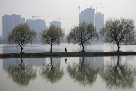 A woman walks past trees reflected on a lake in front of a construction site of a residential compound on a hazy day in Wuhan, Hubei province March 6, 2015. REUTERS/Stringer/Files