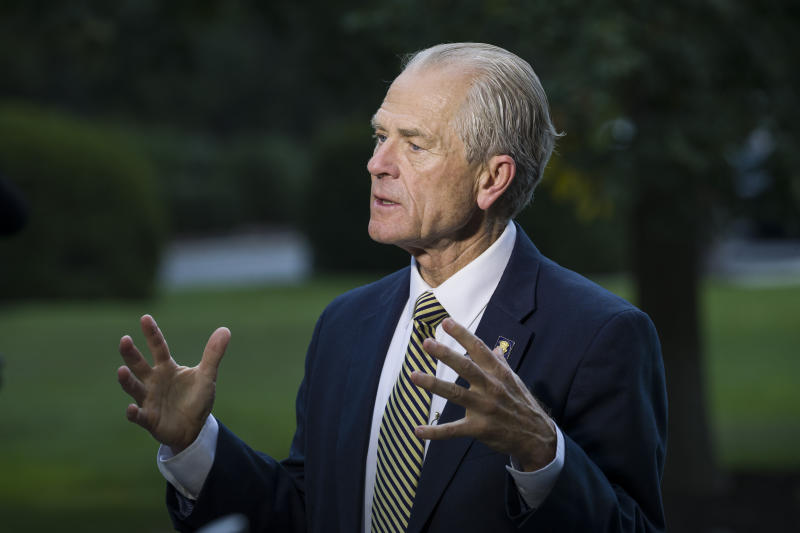 FILE - In this file photo dated Wednesday, Sept. 11, 2019, U.S. White House trade adviser Peter Navarro speaks during a television interview at the White House, in Washington, U.S.A. The U.S. is threatening to pull the United States out of the 145-year-old Universal Postal Union, as Navarro said they opposes options being considered that would maintain the current limits. (AP Photo/Alex Brandon)