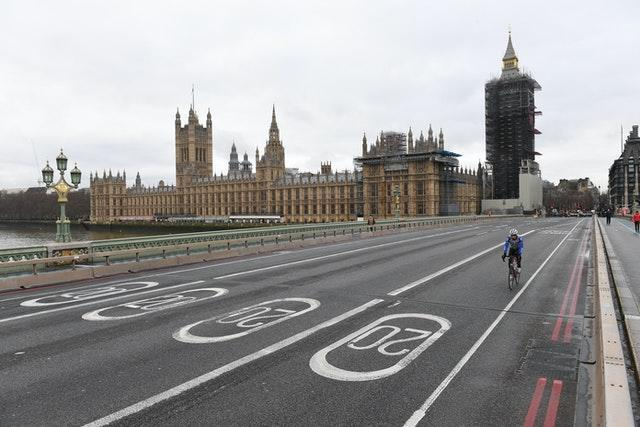 A quiet Westminster Bridge in London, where people have been advised against all but essential trave