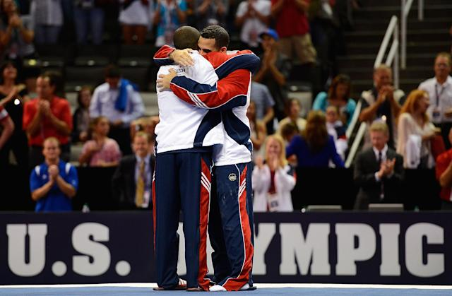SAN JOSE, CA - JUNE 30: (L-R) John Orozco and Danell Leyva hug after being named to the men's Olympic team during day 3 of the 2012 U.S. Olympic Gymnastics Team Trials at HP Pavilion on June 30, 2012 in San Jose, California. (Photo by Ronald Martinez/Getty Images)