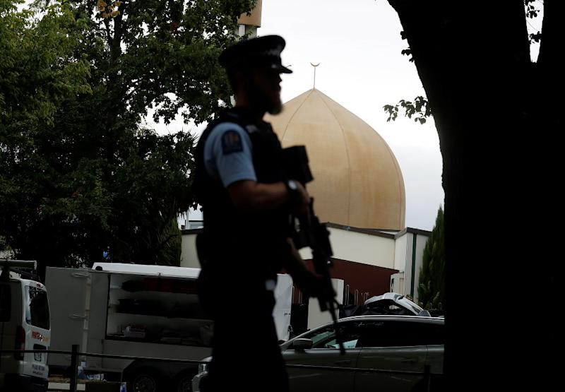 A police officer patrols outside Masjid Al Noor mosque after Friday's mosque attacks in Christchurch March 16, 2019. — Reuters pic