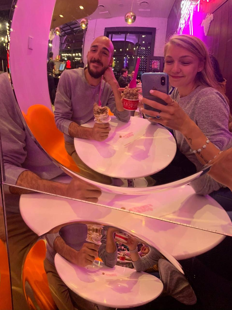 Gabby Petito poses with boyfriend Brian Laundrie at an ice cream parlour. (Find Gabby Facebook page)