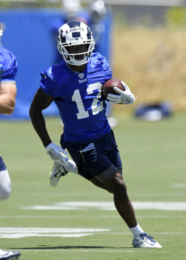 Los Angeles Rams wide receiver Brandin Cooks runs the ball during practice at the NFL football team's mini camp, Tuesday, June 12, 2018, in Thousand Oaks, Calif. (AP Photo/Mark J. Terrill)