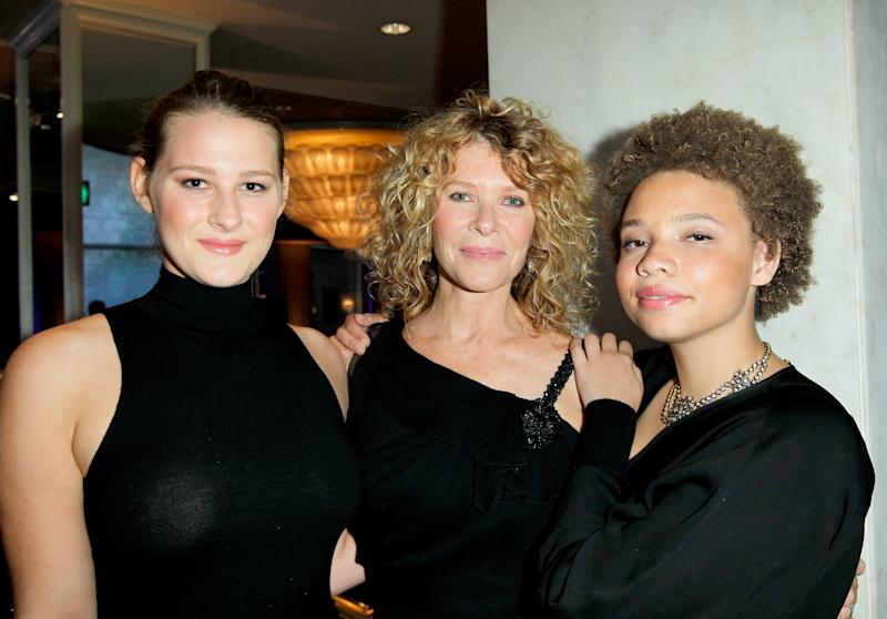 "Actress Kate Capshaw (C), and daughters Mikaela George Spielberg (R) and Destry Allyn Spielberg (L) attend EIF Women's Cancer Research Fund's 16th Annual ""An Unforgettable Evening"" presented by Saks Fifth Avenue at the Beverly Wilshire Four Seasons Hotel on May 2, 2013 in Beverly Hills, California"