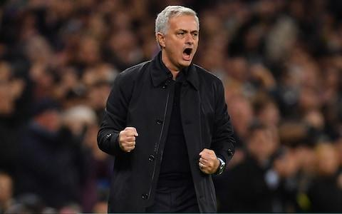 Jose Mourinho, Manager of Tottenham Hotspur celebrates after Harry Kane of Tottenham Hotspur (not pictured) scored their teams second goal during the UEFA Champions League group B match between Tottenham Hotspur and Olympiacos FC - Credit: GETTY IMAGES