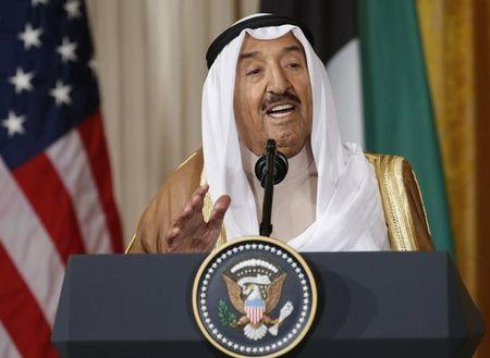 FILE PHOTO - Kuwait's Emir Sheikh Sabah Al-Ahmad Al-Jaber Al-Sabah  addresses joint news conference with U.S. President Trump at the White House in Washington