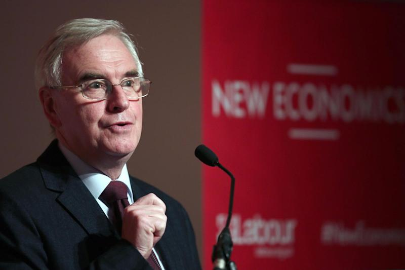 Special summit: Shadow Chancellor John McDonnell will chair talks with unions, self-employed workers and small business owners: PA
