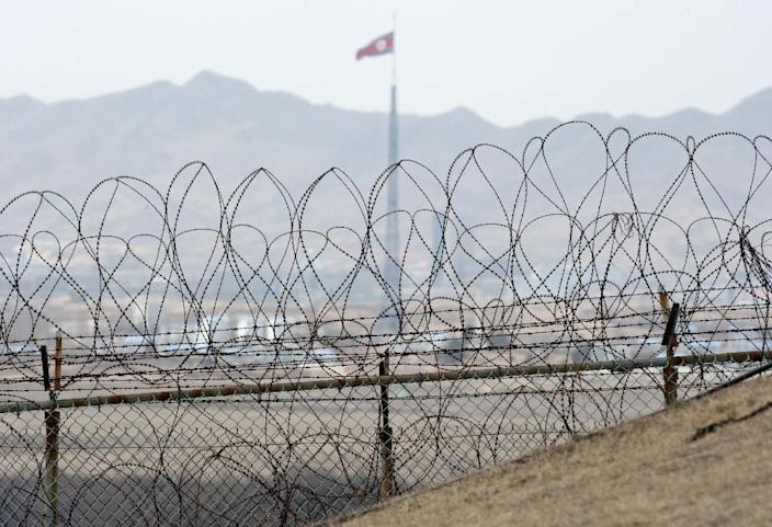 A North Korean flag behind the barbed wire of the Demilitarized Zone (DMZS) in the Joint Security Area near Panmunjom on the border between North and South Korea (AFP Photo/Saul Loeb)