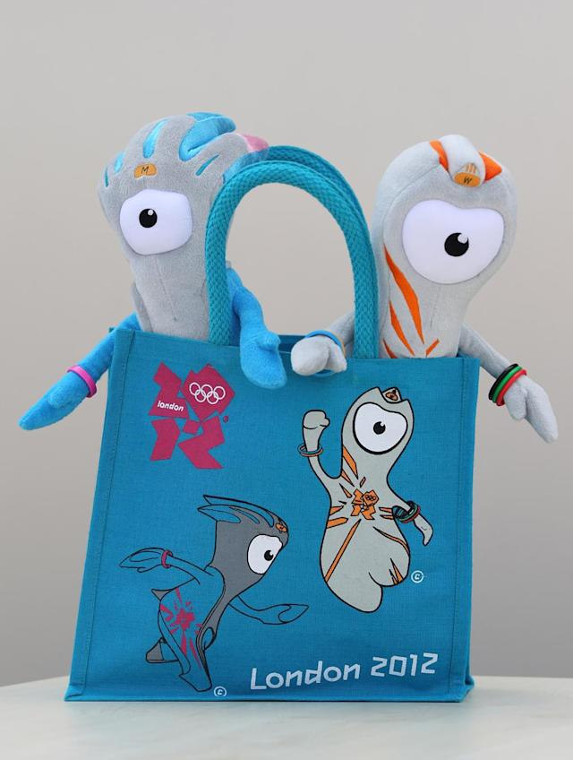 Wenlock (R) and Mandeville (L), soft toy mascots for the London 2012 Olympic Games go on display at the launch of the London Olympic Games official merchandise on July 30, 2010 in London, England. The merchandise is being launched with two years to go before the Games begin and features a range of goods including: clothing, towels, bedding, ceramics, stamps, coins, badges, mascot toys and soft furnishings. (Photo by Oli Scarff/Getty Images)