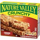 "<p><strong>Nature Valley</strong></p><p>amazon.com</p><p><a href=""https://www.amazon.com/dp/B00ZKUENVC?tag=syn-yahoo-20&ascsubtag=%5Bartid%7C2089.g.35651204%5Bsrc%7Cyahoo-us"" rel=""nofollow noopener"" target=""_blank"" data-ylk=""slk:Shop Now"" class=""link rapid-noclick-resp"">Shop Now</a></p><p>According to PETA, vegans can snack away on the apple crisp, cinnamon, peanut butter, pecan crunch, and roasted almond flavors of the iconic Nature Valley crunchy granola bars. They might crumble to granola in your backpack before you get a chance to eat them, though (#IYKYK).</p><p><em>Per 2 bars: 190 cals, 7 g fat (1 g sat), 29 g carbs, 11 g sugar, 180 mg sodium, 2 g fiber, 3 g protein. </em></p>"