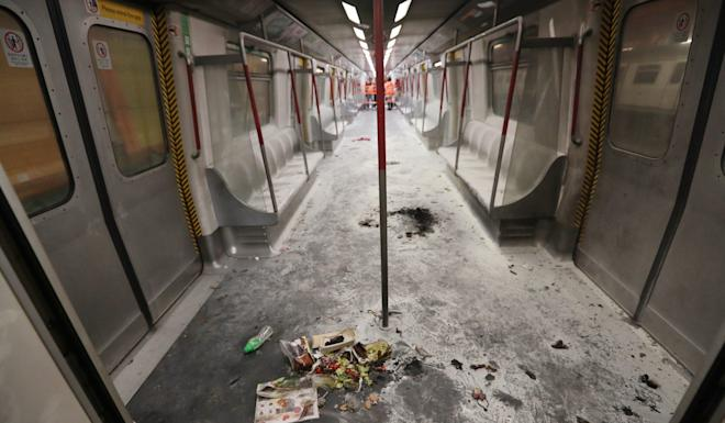 The aftermath of the arson attack on the MTR in 2017. Photo: Edward Wong