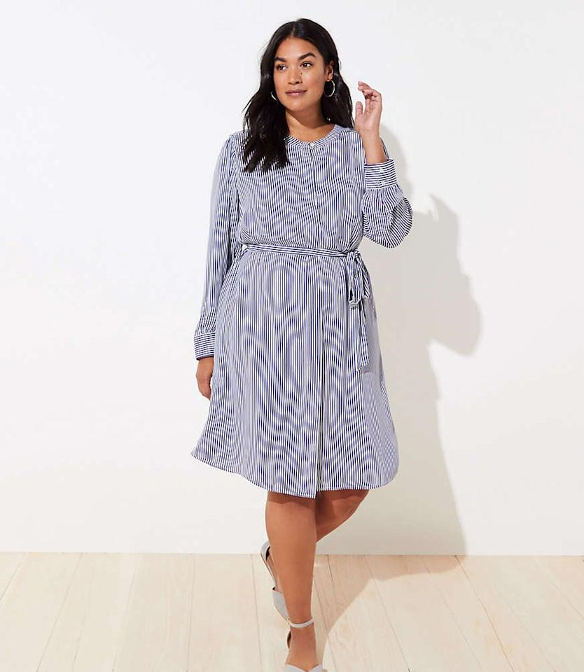 """<p>Get this <a href=""""https://www.popsugar.com/buy/Loft-Striped-Belted-Shirtdress-493513?p_name=Loft%20Striped%20Belted%20Shirtdress&retailer=loft.com&pid=493513&price=80&evar1=fab%3Aus&evar9=45759411&evar98=https%3A%2F%2Fwww.popsugar.com%2Fphoto-gallery%2F45759411%2Fimage%2F46667761%2FLoft-Striped-Belted-Shirtdress&list1=shopping%2Cfall%20fashion%2Cdresses%2Cfall%2Cspring%2Csummer%2Cspring%20fashion%2Csummer%20fashion%2Ccurvy%20fashion&prop13=api&pdata=1"""" rel=""""nofollow"""" data-shoppable-link=""""1"""" target=""""_blank"""" class=""""ga-track"""" data-ga-category=""""Related"""" data-ga-label=""""https://www.loft.com/loft-plus-striped-belted-shirtdress/517731"""" data-ga-action=""""In-Line Links"""">Loft Striped Belted Shirtdress</a> ($80) for the office and beyond.</p>"""