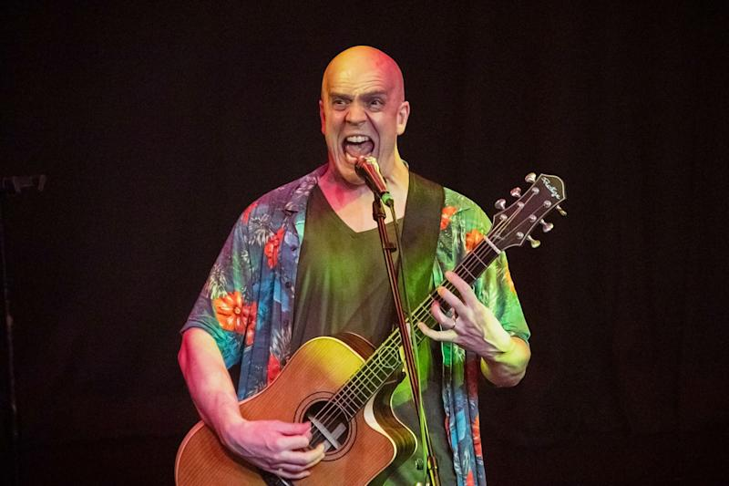 Devin Townsend letting out one of his signature screams. (PHOTO: Dhany Osman / Yahoo News Singapore)