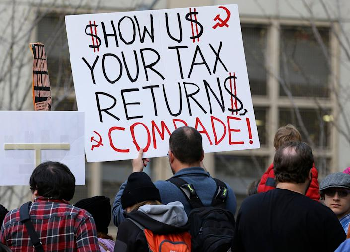 A protest in Seattle on April 15, 2017.
