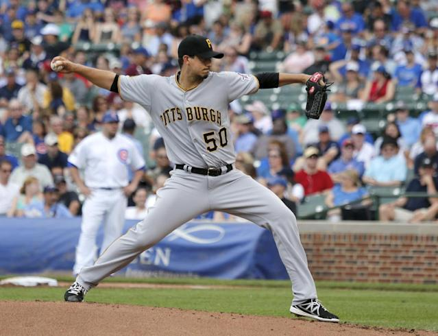 Pittsburgh Pirates starting pitcher Charlie Morton delivers during the first inning of a baseball game against the Chicago Cubs, Friday, June 20, 2014, in Chicago. (AP Photo/Charles Rex Arbogast)