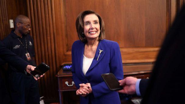 PHOTO: Speaker of the House Nancy Pelosi discusses the stimulus bill known as the CARES Act after the bill was passed at the U.S. Capitol on March 27, 2020 in Washington, D.C. (Win McNamee/Getty Images)
